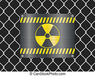 wire fence and radiation sign