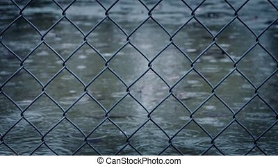 Wire Fence In Rainfall - Wire fence in heavy rain