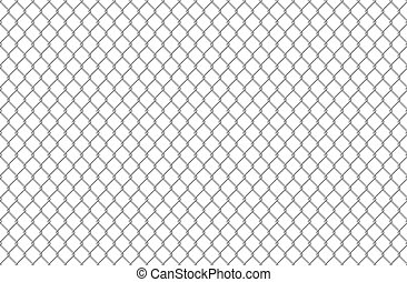 Wire fence pattern. Seamless steel texture background, realistic chainlink safe fence isolated on white. Vector wire mesh steel grid