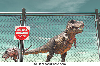 Do not enter - Wire fence protection and dinosaurs. Do not ...