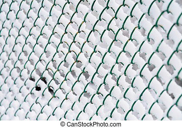 Wire fence with snow