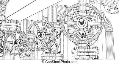 wire-frame, промышленные, оборудование, на, белый, задний...