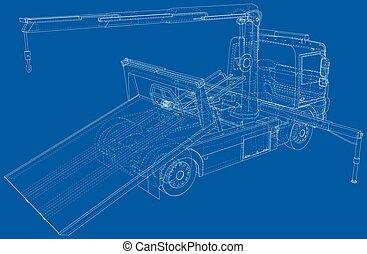 wire-frame, ベクトル, イラスト, trucks., 作成される, 線, 牽引, format., 3d, eps10