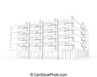 wire-frame, architektonisch, plan