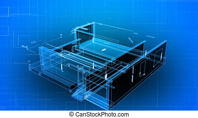 3d Wire Frame of a new building. The animation grows from the bottom up to show a new building taking place. Also good for showing blueprints and drawings for designers