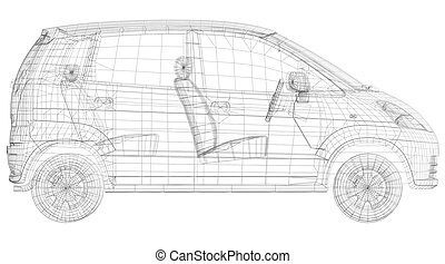 Wire frame car. Isolated render on a white background