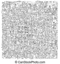 Wire-frame City, Blueprint Style. Vector - Wire-frame City,...