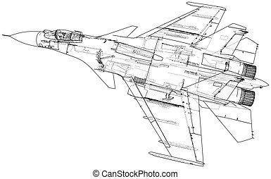 wire-frame, concept., vektor, geschaffen, aircraft., kämpfer...