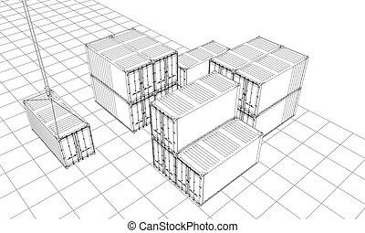 wire-frame, containers., carga, estilo