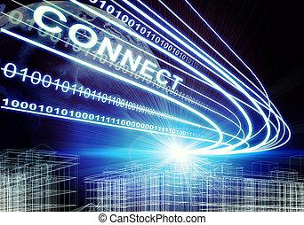 wire-frame, costruzione, raggi luce, cifre, e, parola, collegare, su, sfondo scuro