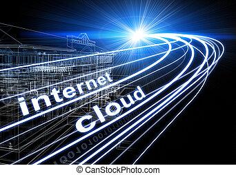 wire-frame, costruzione, raggi luce, cifre, e, parole, internet, clowd, su, sfondo scuro
