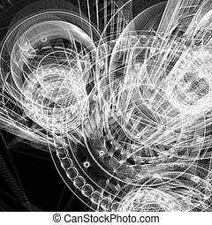 Wire frame gears. 3d rendering on black background