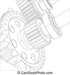Wire-frame gears with bearings and shafts. Close-up. Vector