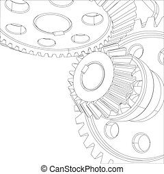 Wire-frame gears with bearings and shafts. Close-up. Vector...