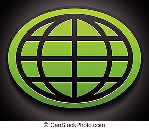 Wire-frame globe on green oval over dark backdrop