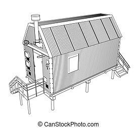 Wire-frame industrial building. Vector rendering of 3d....