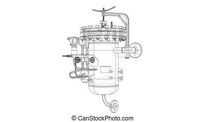 Wire-frame industrial equipment. 3D illustration video