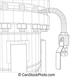 Wire-frame industrial equipment. 3d rendering on white...