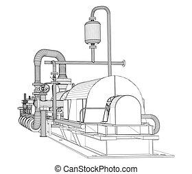 Wire-frame industrial pump. 3D Rendering Vector Illustration
