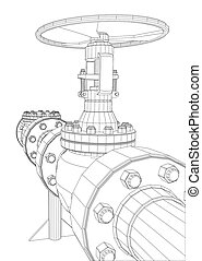 Wire-frame industrial valves. 3d rendering on white...