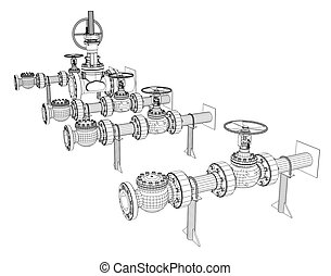 Wire-frame industrial valves. Vector rendering of 3d