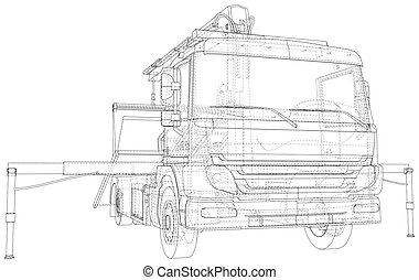 Wire-frame line illustrations of tow trucks. EPS10 format. Vector created of 3d