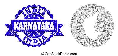 Wire Frame Mesh Circle Hole Map of Karnataka State with Distress Stamp Seal