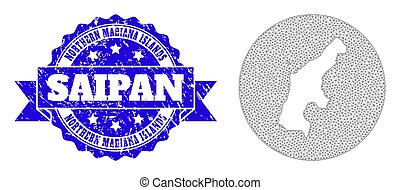 Wire Frame Mesh Circle Inverted Map of Saipan Island with Scratched Stamp