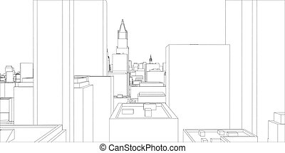 Wire frame new york city blueprint style 3d rendering vector wire frame new york city blueprint style malvernweather Image collections