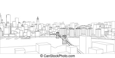 Wire frame new york city blueprint style 3d rendering vectors wire frame new york city blueprint style malvernweather Images
