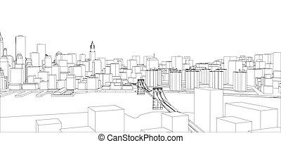 Wire frame new york city blueprint style 3d rendering vector wire frame new york city blueprint style malvernweather Gallery