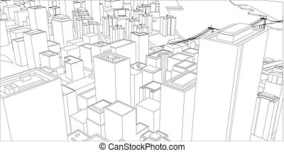 Wire frame new york city blueprint style 3d rendering vector wire frame new york city blueprint style malvernweather Images