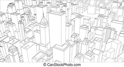 Wire frame new york city blueprint style 3d rendering vectors wire frame new york city blueprint style malvernweather Gallery