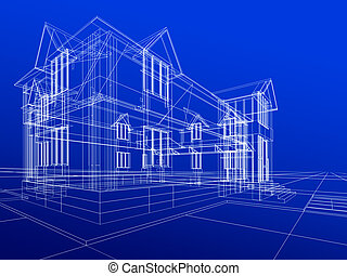 wire-frame of cottage - 3D rendering wire-frame of house. ...