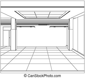Wire-frame office room. EPS 10 vector format.