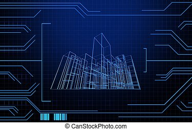Wire frame presentation of building on technology background