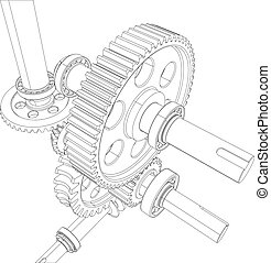 Wire-frame reducer consisting of gears, bearings and shafts. Vector