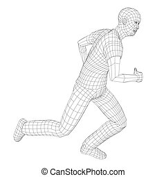 Wire frame running man. Vector rendering of 3d. Technology...