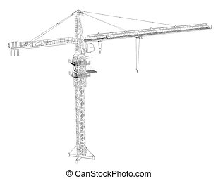 Wire frame tower crane. 3d rendering on white background