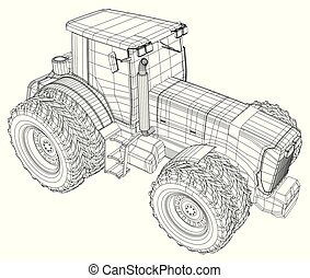 Wire-frame tractor isolated on white background. Tracing ...