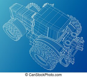 Wire-frame tractor. Tracing illustration of 3d. EPS 10.