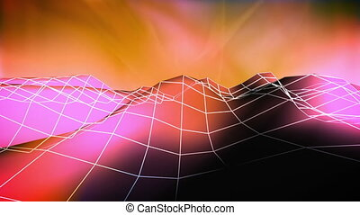 Wire low poly mountain color two abstract looping background