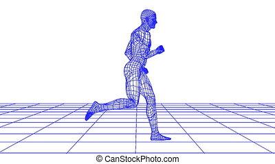 wire man running looping