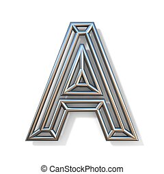 Wire outline font letter A 3D rendering illustration isolated on white background