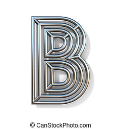 Wire outline font letter B 3D rendering illustration isolated on white background