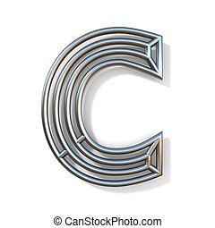 Wire outline font letter C 3D rendering illustration isolated on white background