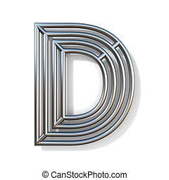 Wire outline font letter D 3D rendering illustration isolated on white background