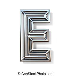 Wire outline font letter E 3D rendering illustration isolated on white background