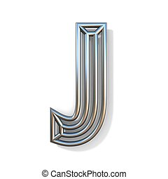 Wire outline font letter J 3D rendering illustration isolated on white background