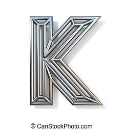 Wire outline font letter K 3D rendering illustration isolated on white background